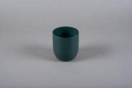 A008JY Cache-pot en métal vert D14cm H16cm