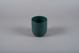 A008JY Green metal planter D14cm H16cm