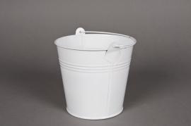 A008KM Seau en zinc blanc D13 H12cm