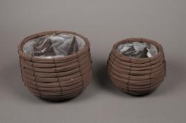 A008LE Set of 2 wicker planter brown D22cm H17.5cm