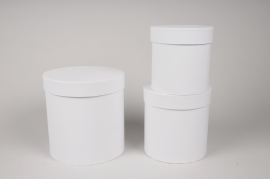 A008O1 Set de 3 boîtes en carton blanc D18cm H18cm