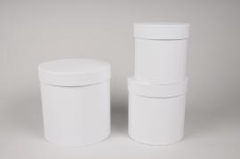 A008O1 Set of 3 white cardboard box D18cm H18cm