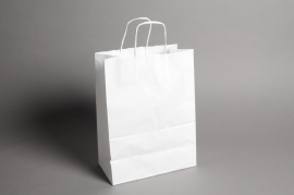 A008O6 Bag of 50 white kraft bags 18cm x 8cm H24cm