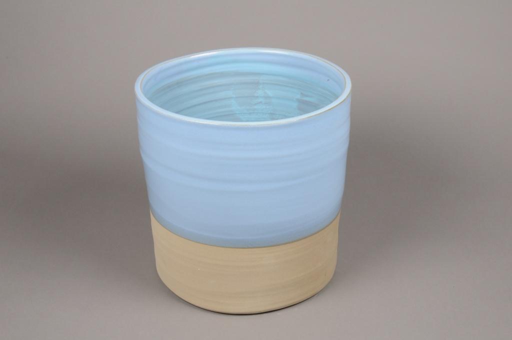 A008Q0 Cache-pot en céramique bleu D15cm H15cm