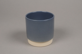 A008T3 Blue ceramic planter pot D11cm H11cm