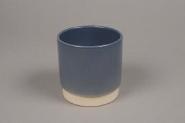 A008T3 Cache-pot en céramique bleu D11cm H11cm
