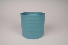 A008U9 Cache-pot en métal bleu D15.5cm H14cm