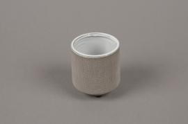 A008W5 Cache-pot en grès gris D5.5cm H8cm
