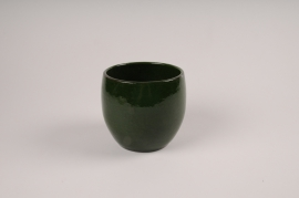 A008XD Green ceramic planter D15cm H14cm