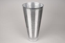 A009A3 Vase verre argent D19cm H40cm