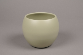 A009A8 Green bowl ceramic planter D12.5cm H13.5cm
