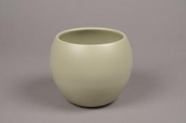A009A8 Cache-pot céramique boule kaki D12.5cm H13.5cm