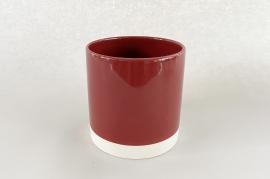 A009AA Cache-pot en céramique rouge D11cm H11.5cm