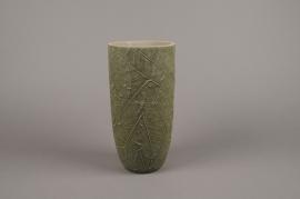 A009AC Vase en béton feuillage vert D14cm H29cm