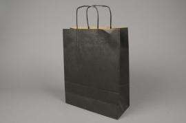 A009AS Paquet de 25 sacs kraft noir 26x12cm H36cm