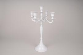 A009BF Metal candelabrum 5 branchs white H40cm