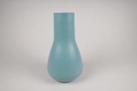 A009CC Vase en métal bleu D18cm H31cm