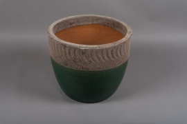 A009DQ Green terracota planter D37cm H31cm