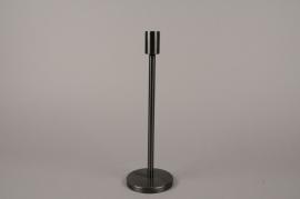 A009E0 Black metal candle holder H30.5cm