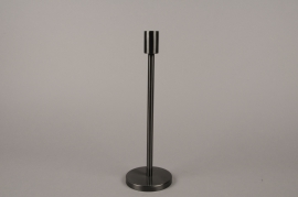 A009E0 Black metal candle holder H30.5cm