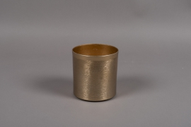A009E5 Gold brushed metal vase D12cm H12.5cm