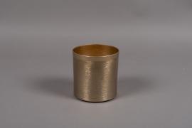 A009E5 Pot en métal brossé or D12cm H12.5cm