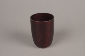 A009G2 Red glass candle jar D9cm H12cm