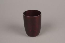 A009G2 Photophore en verre rouge D9cm H12cm