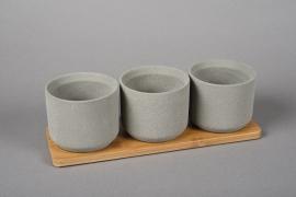 A009HX Set de 3 cache-pots en terre cuite gris et plateau