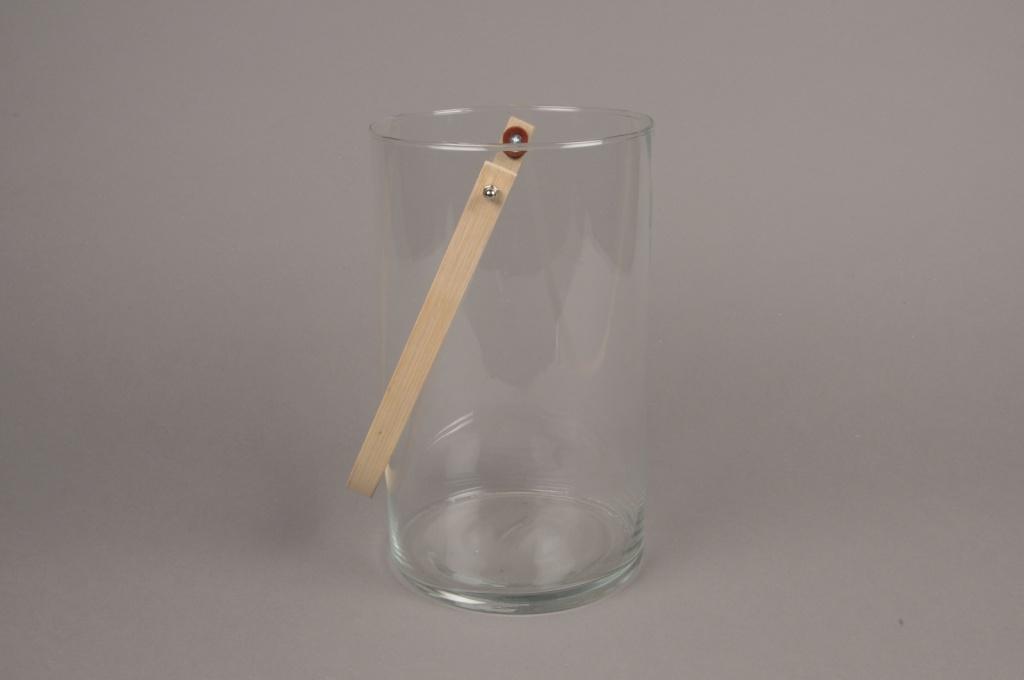 A009IH Photophore en verre et anse bambou H25cm