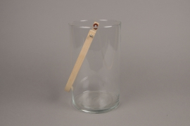 A009IH Glass light holder with bamboo handler H25cm