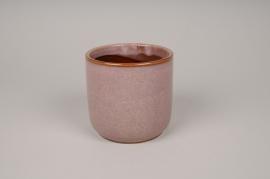 A009J6 Pink ceramic planter pot D11.5cm H11.5cm