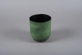 A009JY Cache-pot en métal vert D14cm H16cm