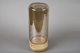 A009KI Photophore en verre sur socle en bois D15cm H37cm