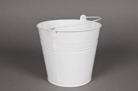 A009KM Seau en zinc blanc 16xH14cm