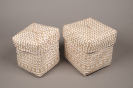 A009LE Set of 2 boxes in natural braided raffia 20x20cm H20cm
