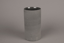 A009N8 Grey terracotta vase D12cm H22cm