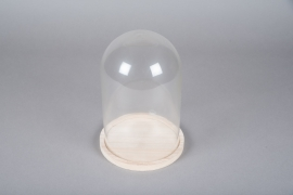 A009PM Cloche en verre avec plateau bois D17cm H25cm