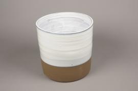 A009Q0 Cache-pot en céramique blanc D15cm H15cm