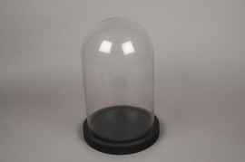 A009T0 Glass bell with wooden tray D24cm H37.5cm