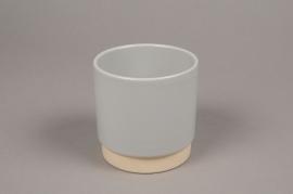 A009T3 Cache-pot en céramique gris D11cm H11cm