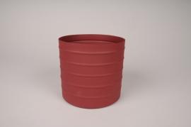 A009U9 Cache-pot en métal rouge D15.5cm H14cm