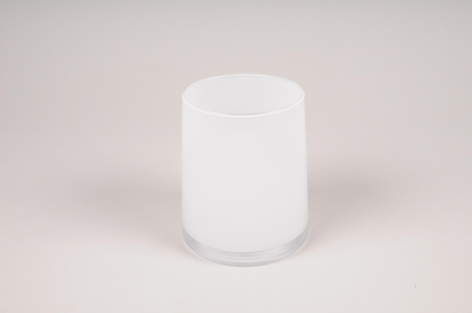 A009W3 Vase en verre blanc D11cm H13cm