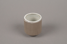 A009W5 Brown stoneware vase D5.5cm H8cm