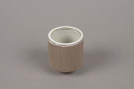 A009W5 Cache-pot en grès taupe D5.5cm H8cm