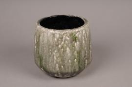 A009W6 Cache-pot en céramique vert D18cm H18cm