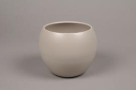 A010A8 Cache-pot céramique boule gris D12.5cm H13.5cm