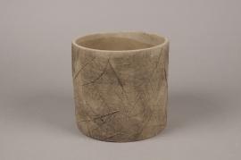 A010AC Cache-pot en béton feuillage brun D17cm H16cm