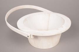 A010AV White wooden pot D18cm H10cm