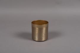 A010E5 Gold brushed metal vase D10.5cm H10.5cm
